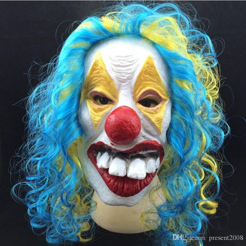 New Halloween clown masks party supply latex full face mask Party masks clown funny hilarious corlorful Jester/Jolly Mask with hair