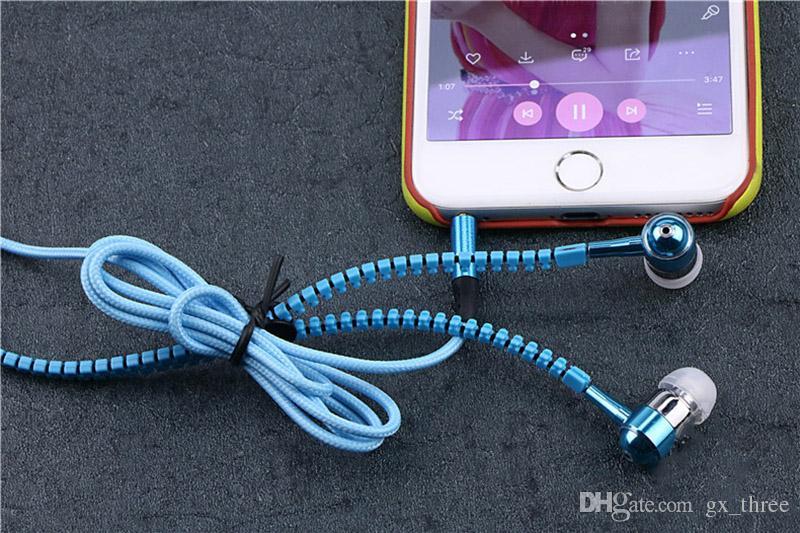 Moda Yaratıcı spor zip Kulaklık 3.5mm aux ses jack kulak Kulaklık Mic stereo Kulaklık ile Fermuar Kulaklık için Huawei Telefon MP3 MP4
