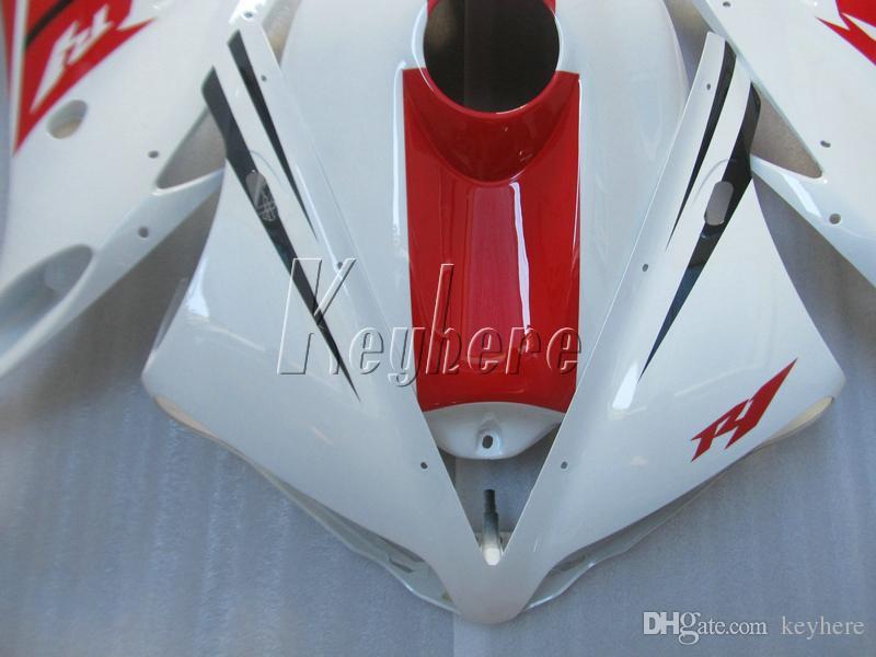 Spritzguss Kunststoff Verkleidungssatz für Yamaha YZF R1 04 05 06 weiß rot Verkleidungssatz YZFR1 2004 2005 2006 IT11