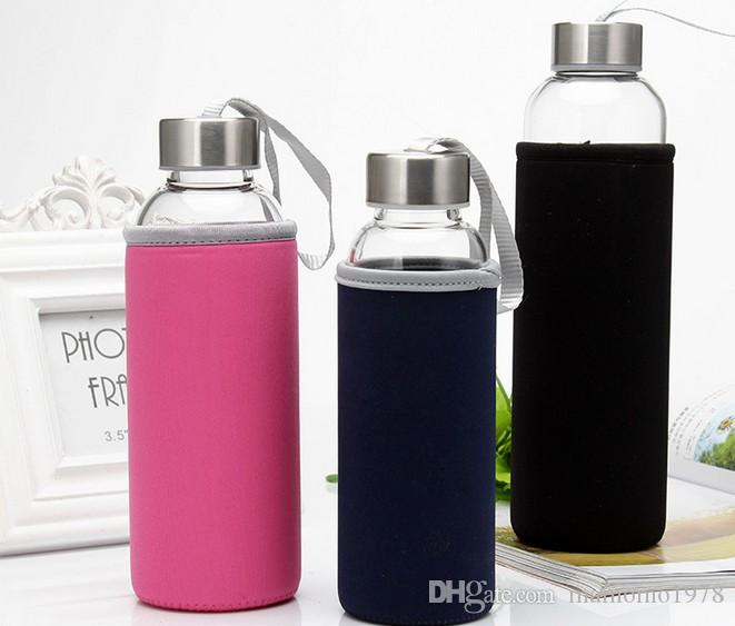280ml Portable Glass Water Juice Kettle Protective Carry Bag Drinking Filter in Home Outdoor Travelling Water Bottle J1464