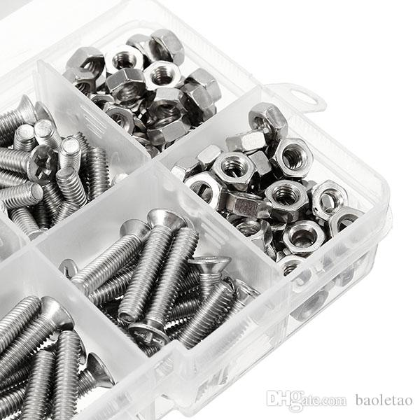 M4 Stainless Steel Phillips Round Flat Head Screws Bolts Nuts Assortment Kit