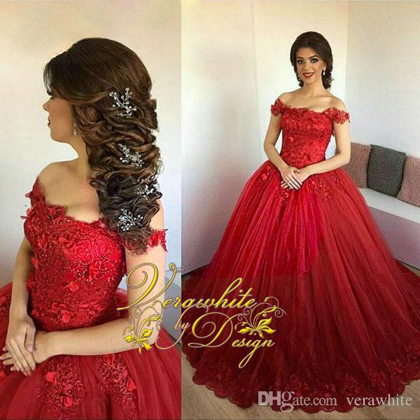 2017 Gorgeous Red Lace Ball Gown Wedding Dresses Off Shoulder Neck  Sleeveless Beads Appliques Zipper Back Tulle Bridal Gowns Custom Wedding  Dress With ... f22fa8c15