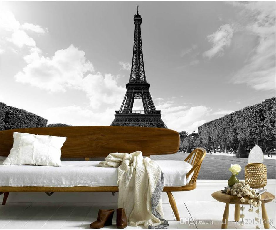 Beautiful french eiffel tower black and white landscape for Eiffel tower wall mural black and white