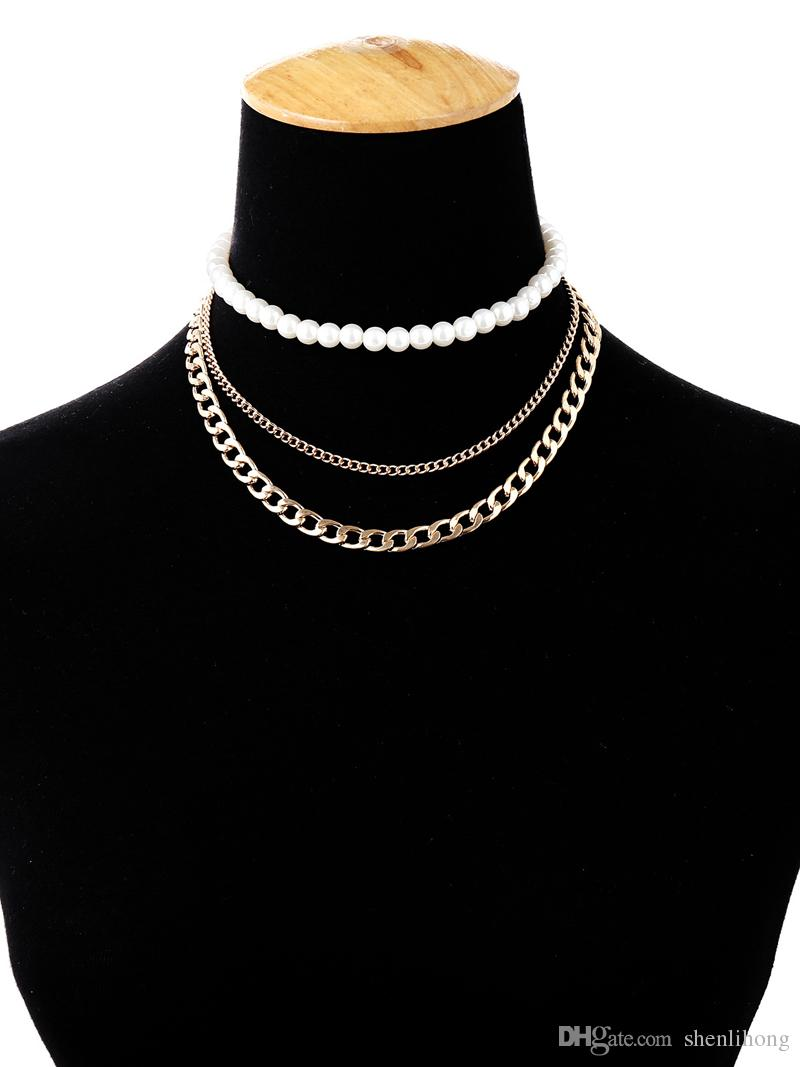 handwork multiayer pearl necklace costume jewelry iron steel chain pearl chocker necklace with good price sell well