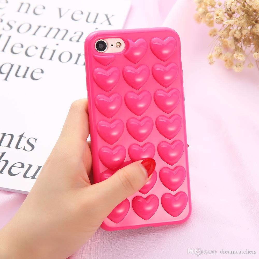ffd400b557cd1 For Iphone X 8 3D Peach Loving Heart Case Soft Silicone Lovers Jelly ...