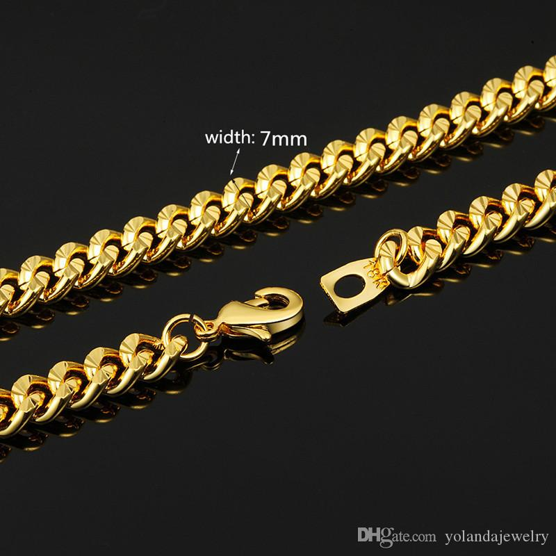Luxury 18K Yellow Gold Plated Men Chain Width 7MM 46CM- 81CM Length Chain Necklace for Boy Friend Husband Nice Jewelry Gift