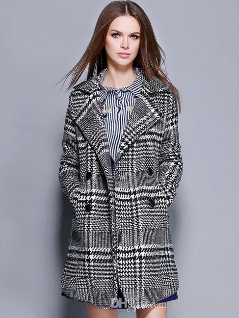 2017 yeni kıyafetler. Bayan elbisesi. Kaşmir. Bayan paltosu. Bayan yün palto. Kadın palto. Sıcak tut. Kış giyimi. % 100 polyester.Plaid.