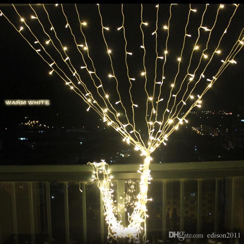 Edison2011 핫 300LED 커튼 조명은 고드름 LED 문자열 페어리 라이트 크리스마스 파티 홈 장식 3mx3m 220V 110V