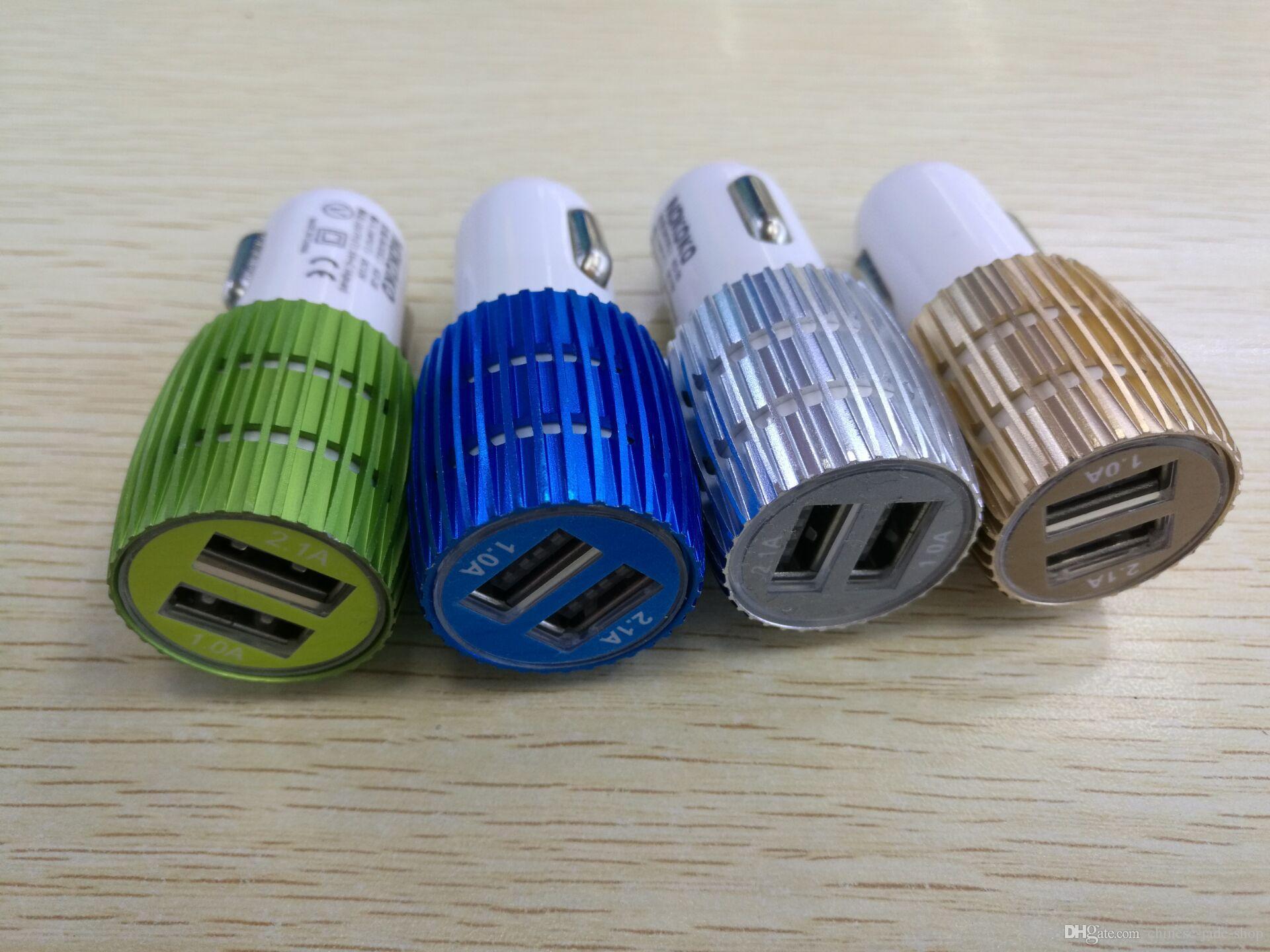 Real es ist 1A Dual USB Auto Ladegerät Blaues Licht LED Aluminiumlegierung Metall Adapter für Smartphone 200 teile / los