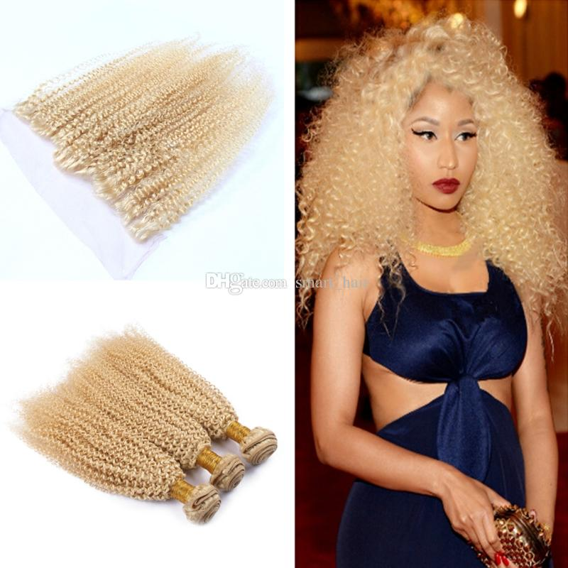 Blench Blonde 613 Kinky Curly Hair Bundles 3pcs With Lace Frontal Afro Curly 13x4 Lace Frontal With Virgin Hair Extensions 4Pcs/Lot