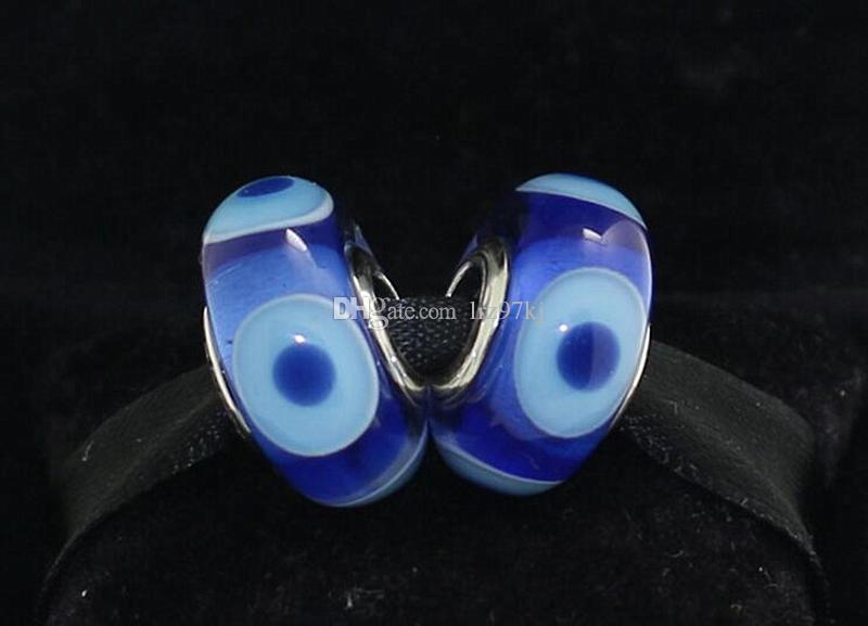 5 unids 925 Plata Esterlina Tornillo Azul Oscuro Evil Eye Murano Glass Bead Se adapta Pandora Europea Joyería Pulseras Del Encanto Collares Colgantes DH063