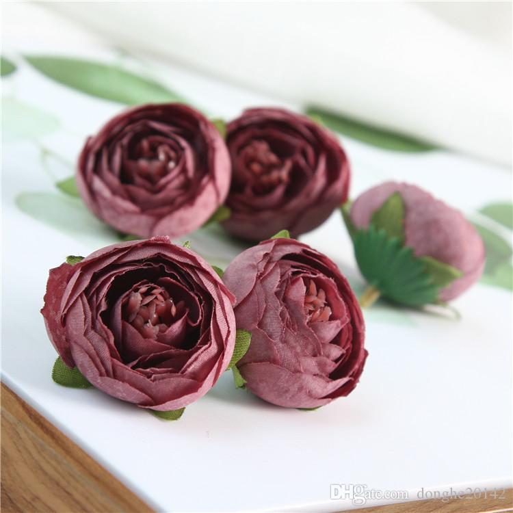 Wholesale The Tea Rose Bud Simulation Artificial False Retro Camellia Bract Rose Flower Heads Wedding Decoration DIY Gift Box Collage