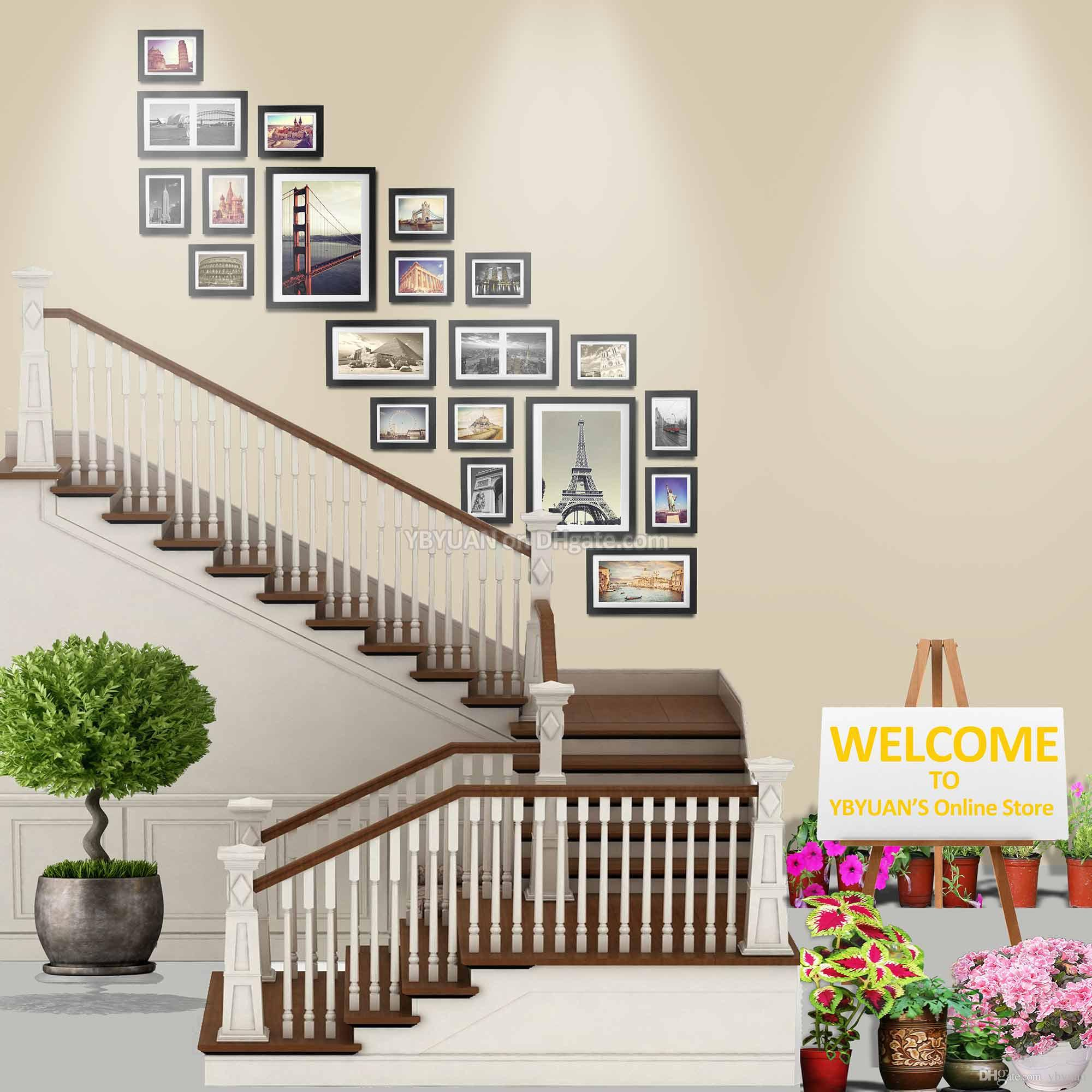 2018 Wood Photo Frame Stairwell Gallery Wall Large Modern Style Flat ...