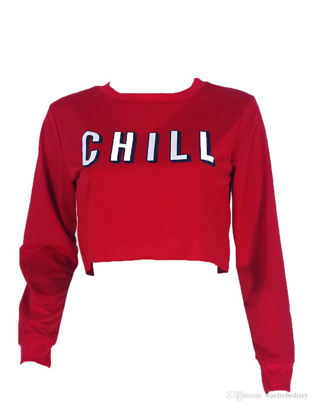 96ab55c8bba0 2019 Sexy Sweatshirt Clothes Crop Tops Hoodie Sweater Woman Leisure Time  Sport Women Long Sleeve Autumn Fashion Jogging Ladies Short Letter Red From  ...