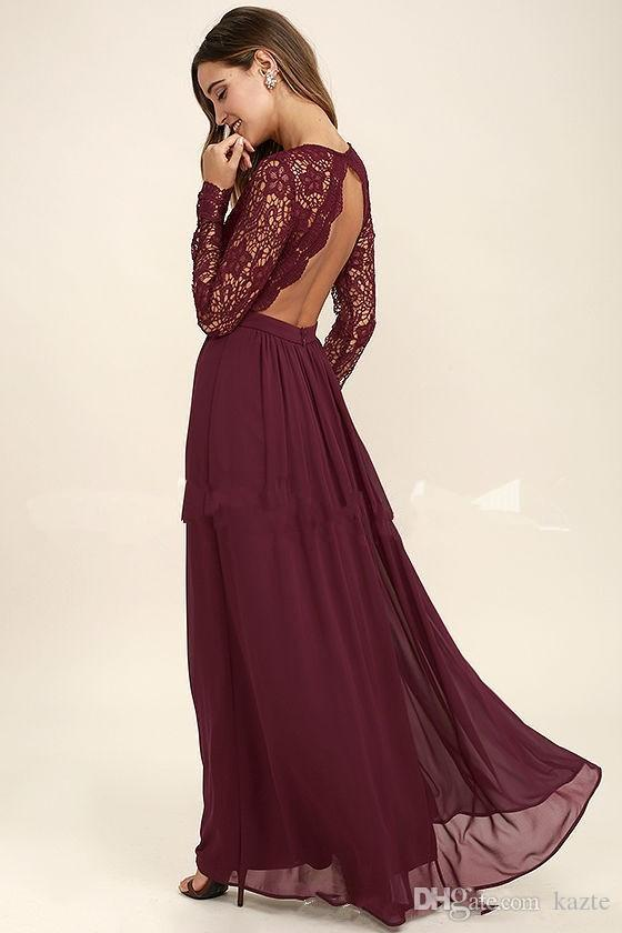 Burgundy Lace Country Long Sleeve Bridesmaid Dresses Modest Lace Chiffon Keyhole Back Plus Size Junior Bridesmaid Dress Cheap Cheap Bridesmaids
