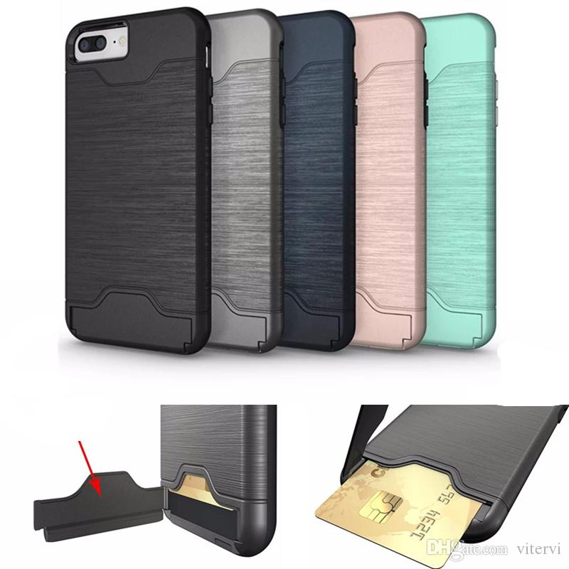 buy popular 63c4e 9f13c Card Slot Case For iPhone X 8 plus case Holder Back Cover Kickstand Case  for samsung Galaxy S8