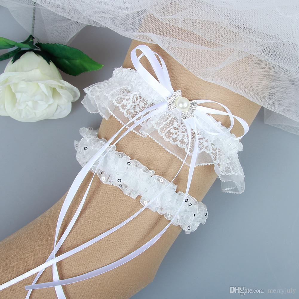44575f937 White Wedding Garter Bridal Garter Set With Rhinestones Prom Garter 2017  Bridal Leg Garters Prom Wedding Garters For Bride Personalised Wedding  Garters Uk ...