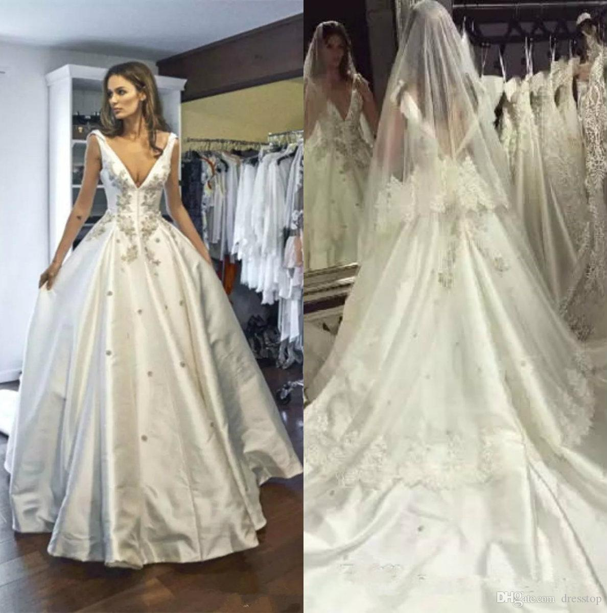 High Quality Satin Wedding Dresses Backless V Neck Winter Bridal Gowns Court Train Crystals Medieval Vestidos Appliques Dress A Ball Gown: Cheap Meval Wedding Dresses At Websimilar.org