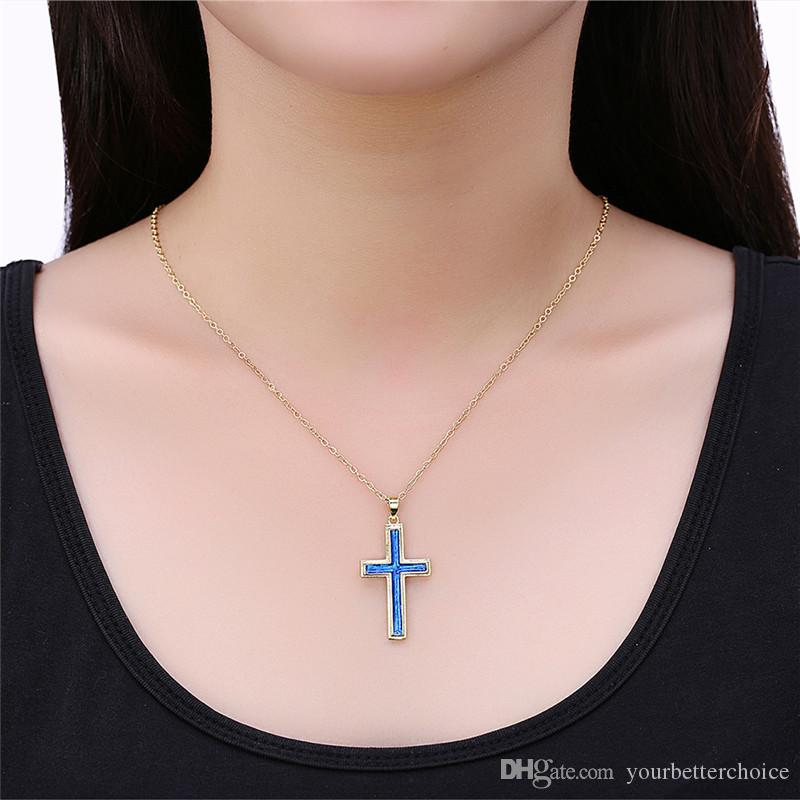 Christmas Gift Gold Plated Cross Pendant Blue Opal Crystal Rolo Chain Necklace for Women