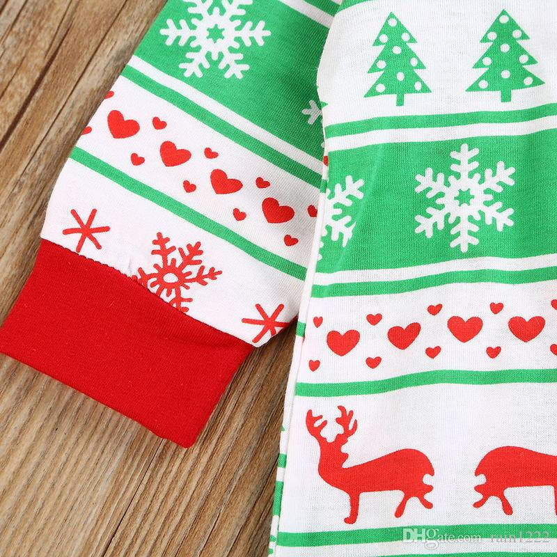 New Baby Christmas Clothes Rompers Bodysuits For Babies Xmas Deer Design Onesies Jumpsuits Infants Toddlers Cotton Long Bodysuits For 0-3T