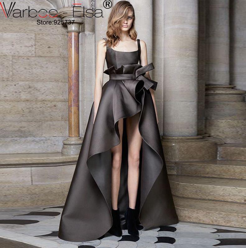 3d Bias Cut Black Dress Short Front Long Back Evening Dresses 2017 ...