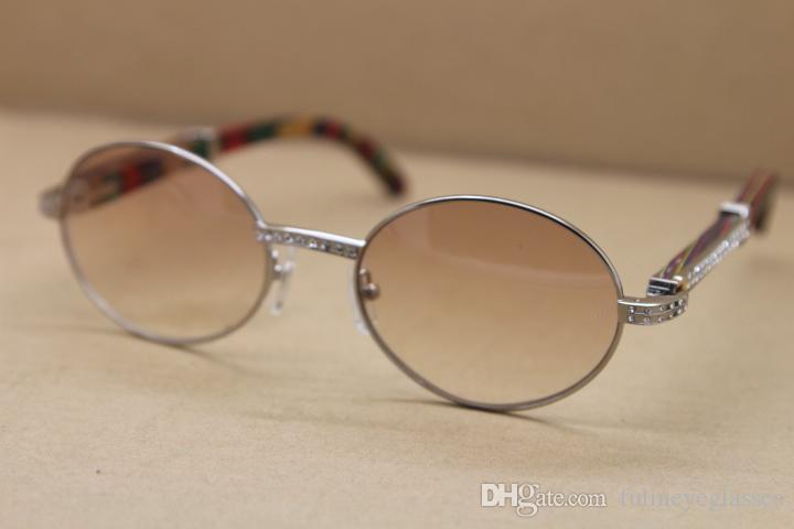 Ücretsiz nakliye Altın Ağaç Gözlük Erkekler 7550178 Yuvarlak Metal Güneş elmas Güneş Çerçeve C Dekorasyon altın çerçeve gözlük Boyutu: 57-22-135mm