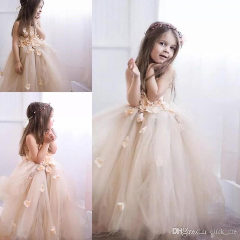 ee28acfc39e9 Light Champagne Flower Girls Dresses Puffy Long Tutu Skirt Handmade ...