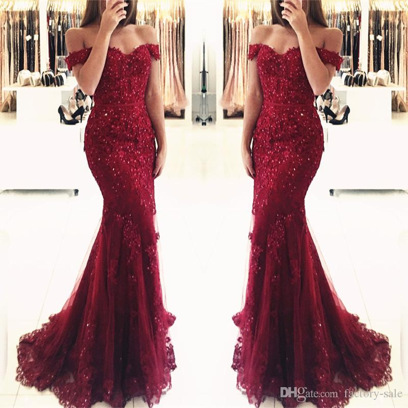 Burgundy Mermaid Prom Dresses Sequined Beaded Floor Length Off Shoulder Lace Long Formal Evening Party Gowns BA3809