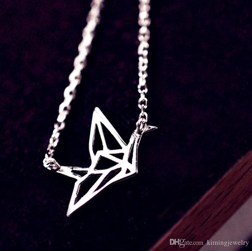 Hot Sale Real Pure 925 Sterling Silver Elegant Origami Crane Charming Design Pendant Necklace collar de plata