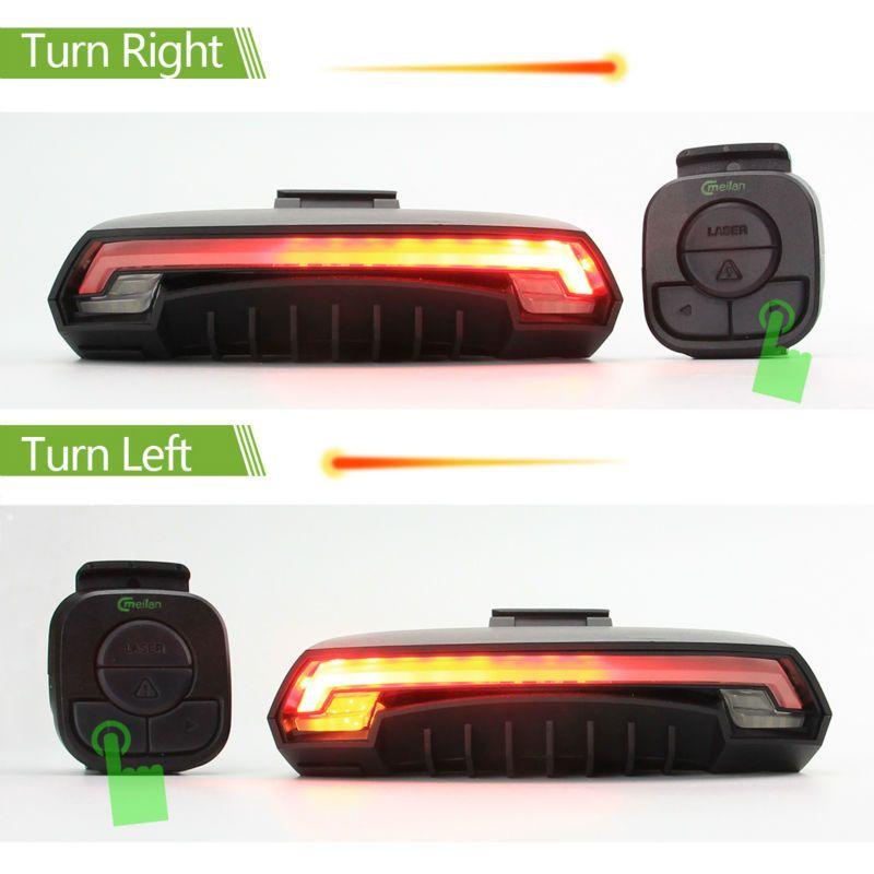 X5 Smart Luce posteriore bicicletta Lampada bicicletta Laser LED USB Ricaricabile senza fili Controllo remoto di tornitura Bicicletta Bycicle led Light