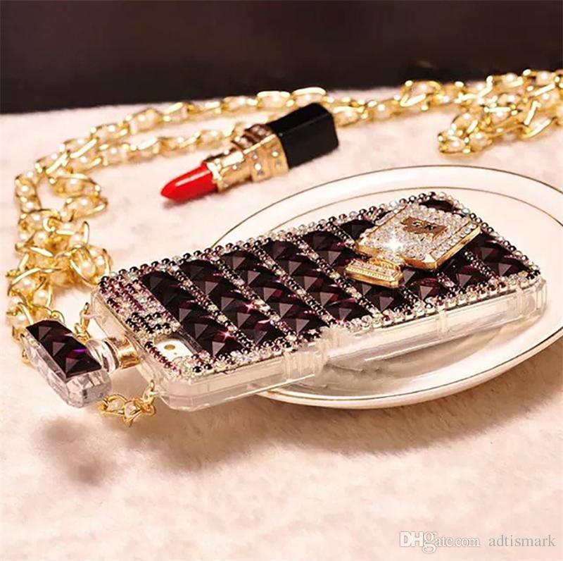 للحصول على زجاجة عطر فون 6S الماس الهاتف المحمول حالة الحبل القضية 5S حجر الراين حالة الهاتف المحمول مع حزمة مقابل