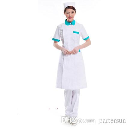 Doctor white long-sleeved dress nurse short sleeved uniform experiment under drugstore beauty salon overalls 126