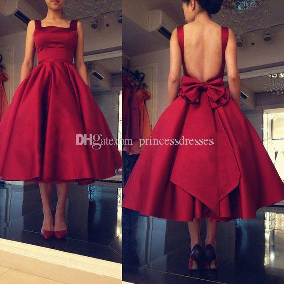 2017 Newest Cheap Burgundy Short Prom Dresses Spaghetti Backless Tea-Length Cocktail Party Dresses Evening Wear With Bow Sash Custom Made