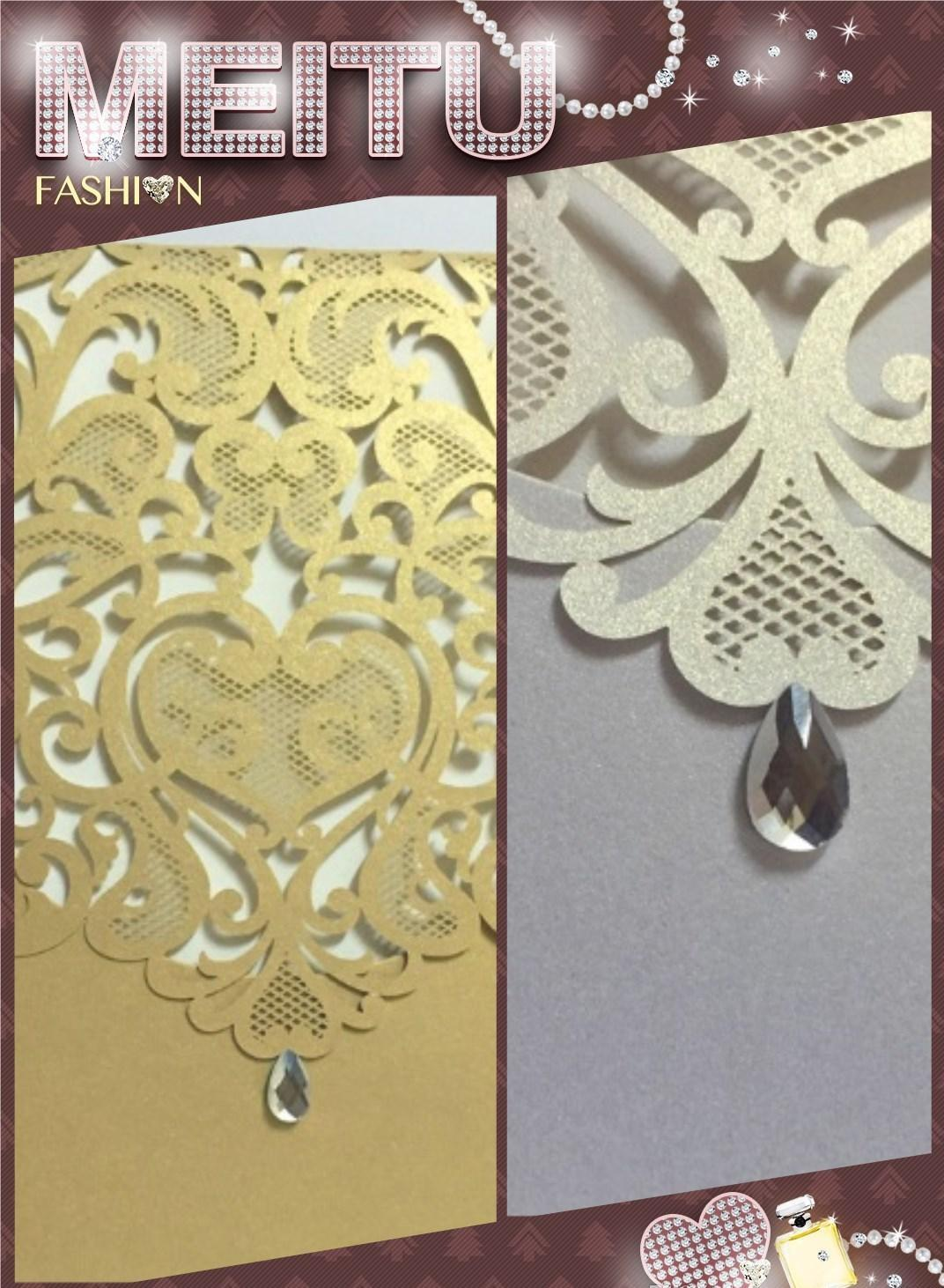 2017 new design Wedding Invitations White,Light coffee color Hollow Laser Cut Greeting Cards Free Design and printing Via DHL Shipping Free