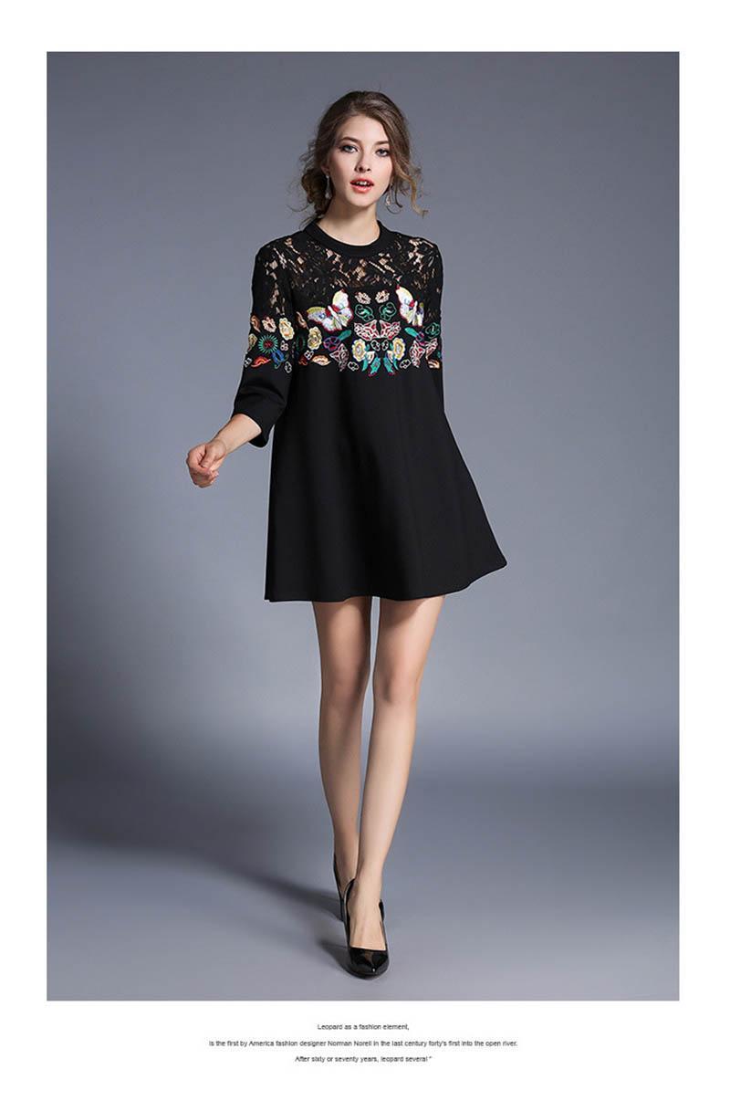 14915d1be56 Großhandel Vintage Frauen Floral Stickerei Kleid Frühling Böhmischen  Schwarzen Halben Hülse Mädchen Schönes Kleid Mode 2017 Korean Vestidos Robe  Femm Von ...