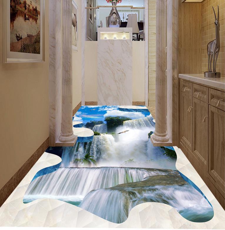 3d stereoscopic wallpaper Custom 3d floor photo wallpaper murals cobblestone living room wallpaper 3d floor tiles