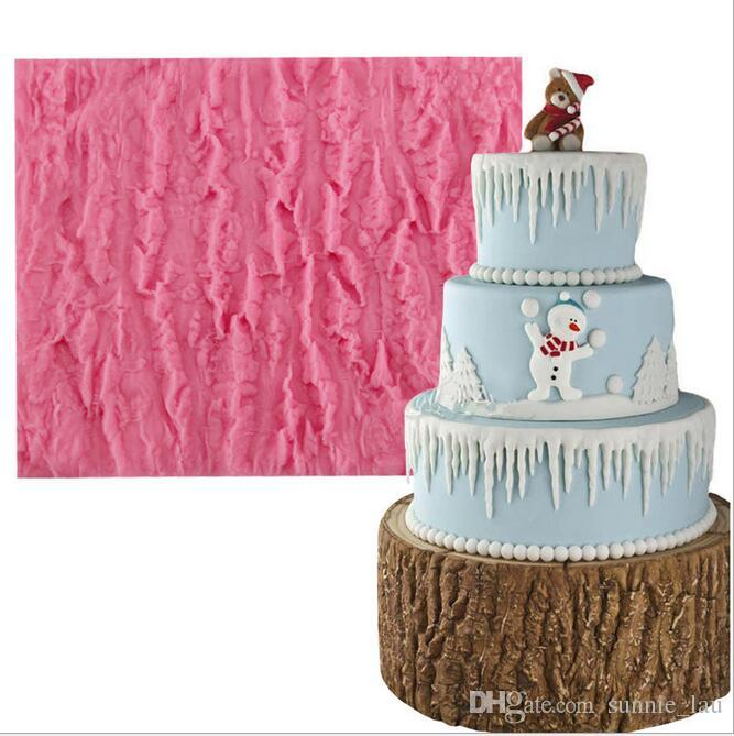 Tree Bark Texture Icicle Silicone Lace Cake Mold Sugarcraft Fondant Cake Decorating Tools Handmade Chocolate Candy Making Moulds