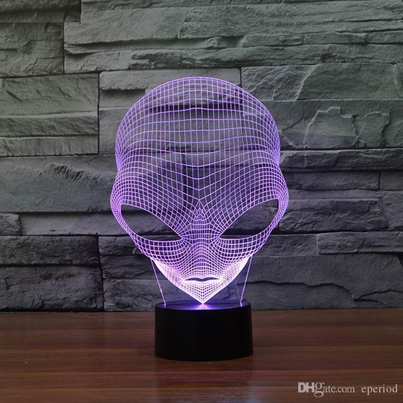 Unique 3D light Special Alien Shape LED Table Lamp with USB Power touch switch Changing for kids