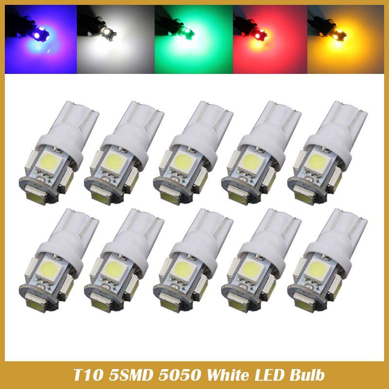 50PCS T10 LED W5W 5SMD 5050 194 car led light Wedge Lamp Bulbs Auto on roof rack for cars, sunglasses holder for cars, cruise control for cars, luggage rack for cars, door handles for cars, xenon bulbs for cars,