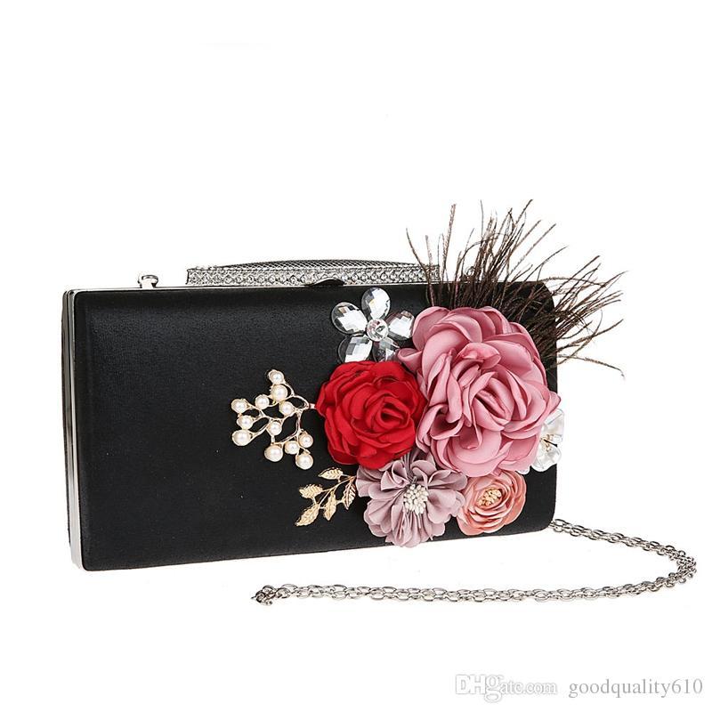 Fashion Elegant Peony Flower Pearl Rhinestone Feather Clutch Banquet Bag Purse Wedding Bridal Handbag Chain strap For choose 12077