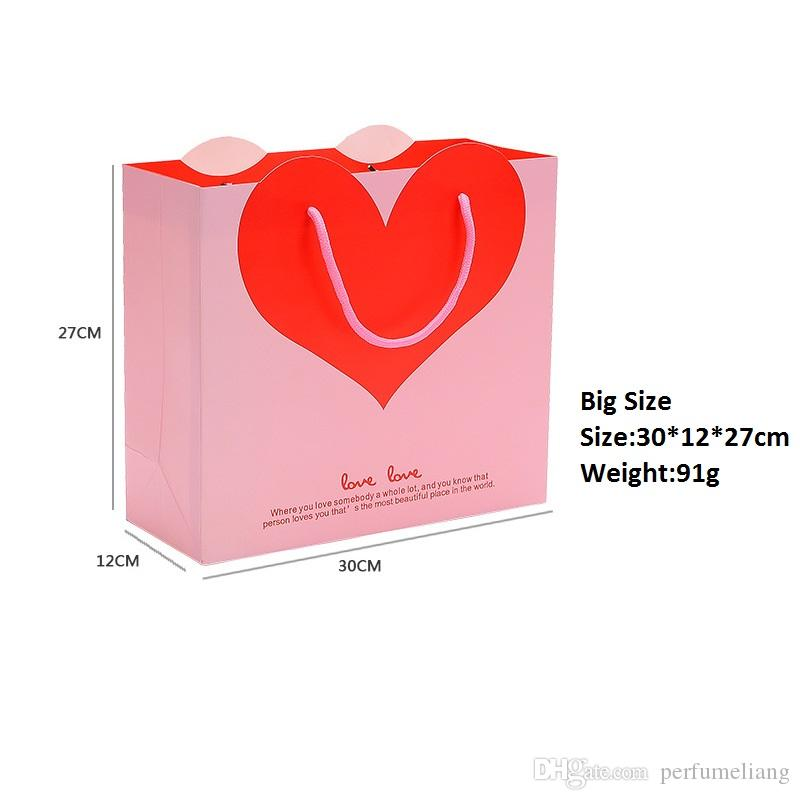 Lovely Heart Paper Gift Bag Goodie Gift Bags With Handle Baby Shower Party Wedding Valentine's Day Decoration ZA1874