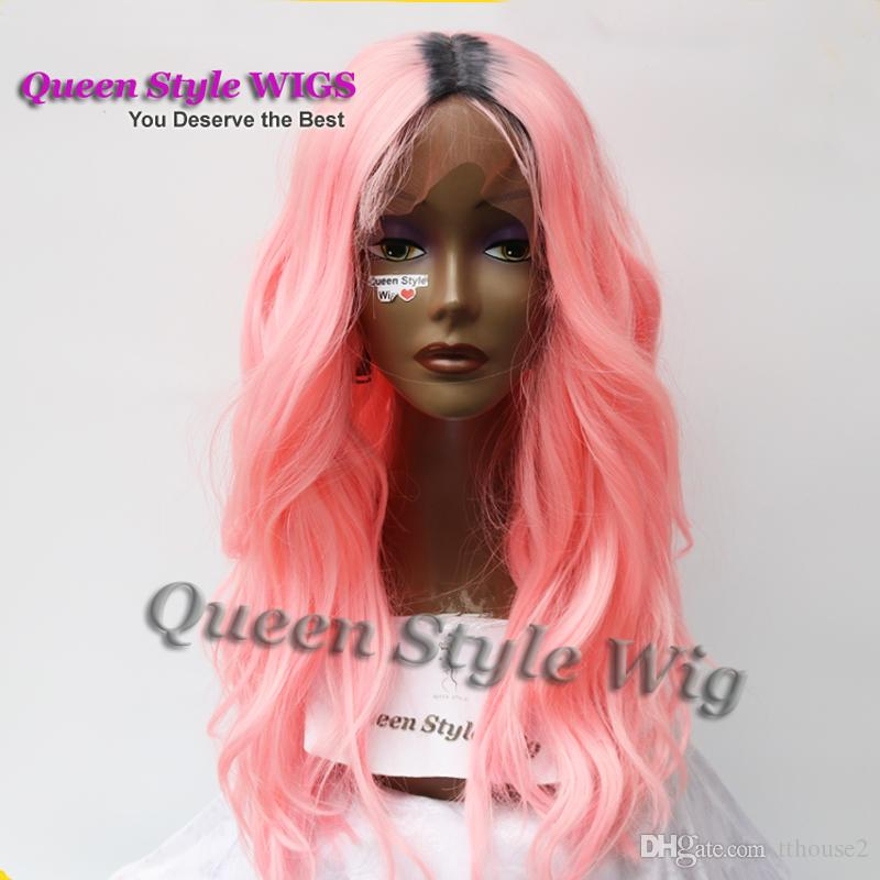 short black root Ombre Pastel Fluorescent Pink Color body wave Hair Wig Synthetic Lace front wig/ None lace front wigs for Black women