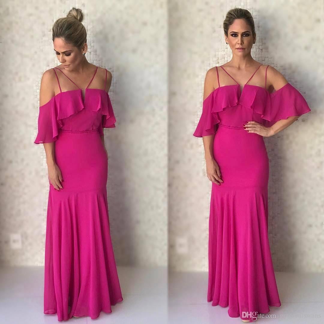 Fuchsia Chiffon A-Line Bridesmaid Dresses Sheer Straps Tank Ruffles Top Simple Wedding Party Dress for Guest robe demoiselle d'honneur