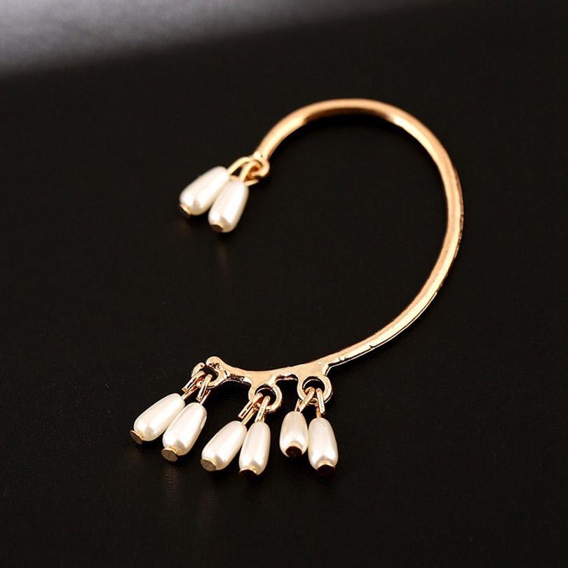 ZLDYOU Bridal Wedding Gift Imitation Pearl Ear Cuff Women Jewelry Pears Water Drop No Pierced Gold Silver Plated Clip Earrings