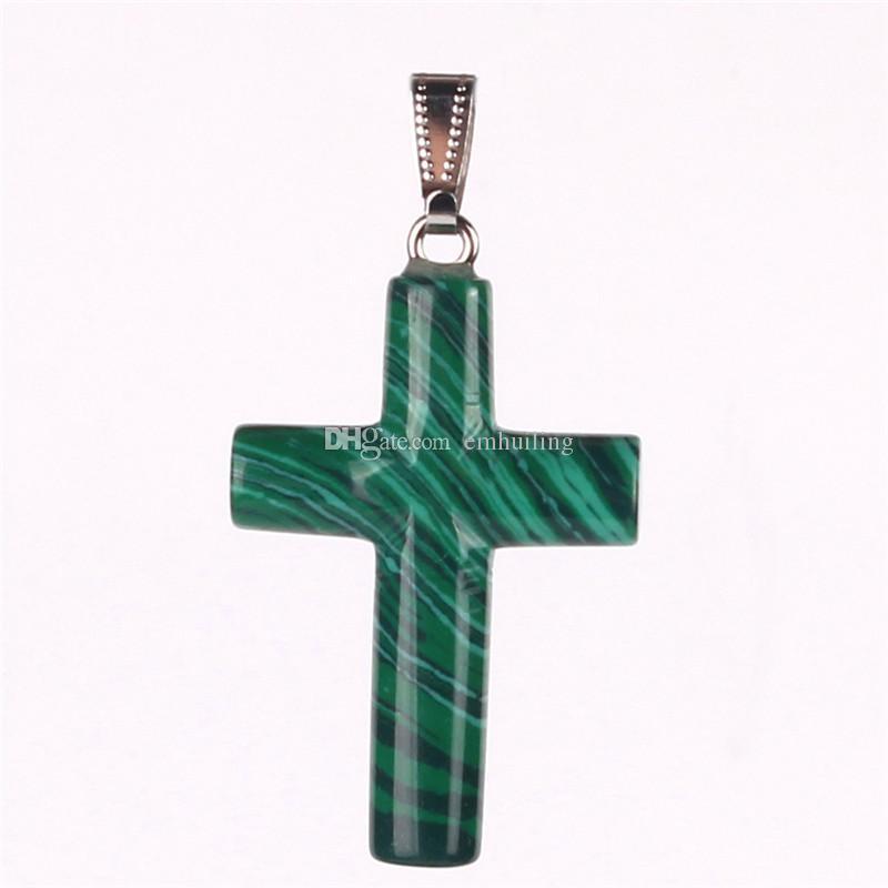 Commercio all'ingrosso misto di pietre di cristallo di energia naturale sottile appeso croce celtica fortunato pendente perline gratis le donne uomini gioielli pendenti intagliati a mano