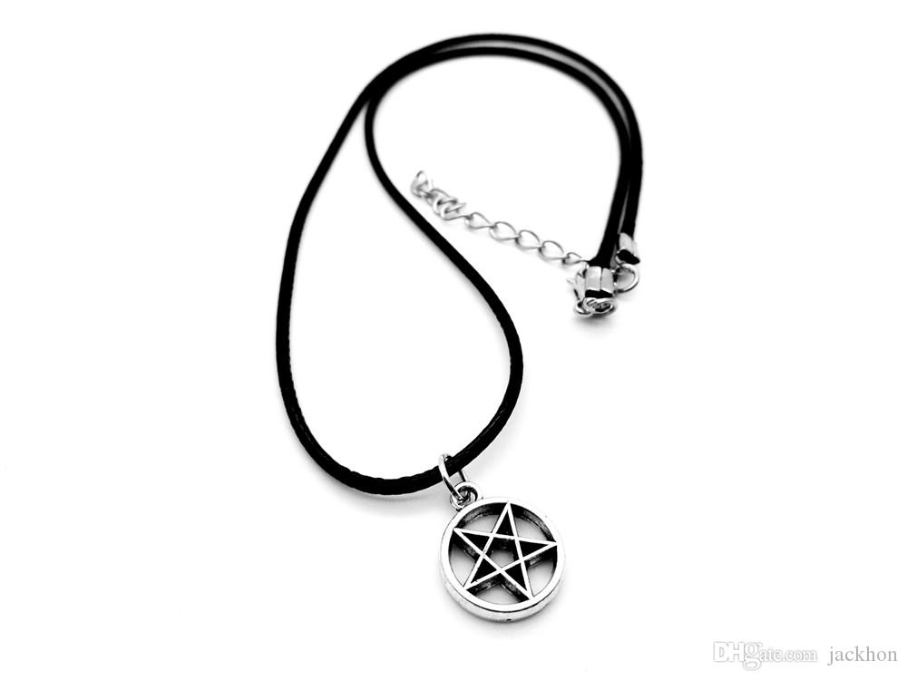 - Tiny David of Star Necklace Pagan Wicca Inverted Star Pentagram Necklace Circle Round with Star Leather Rope Necklaces
