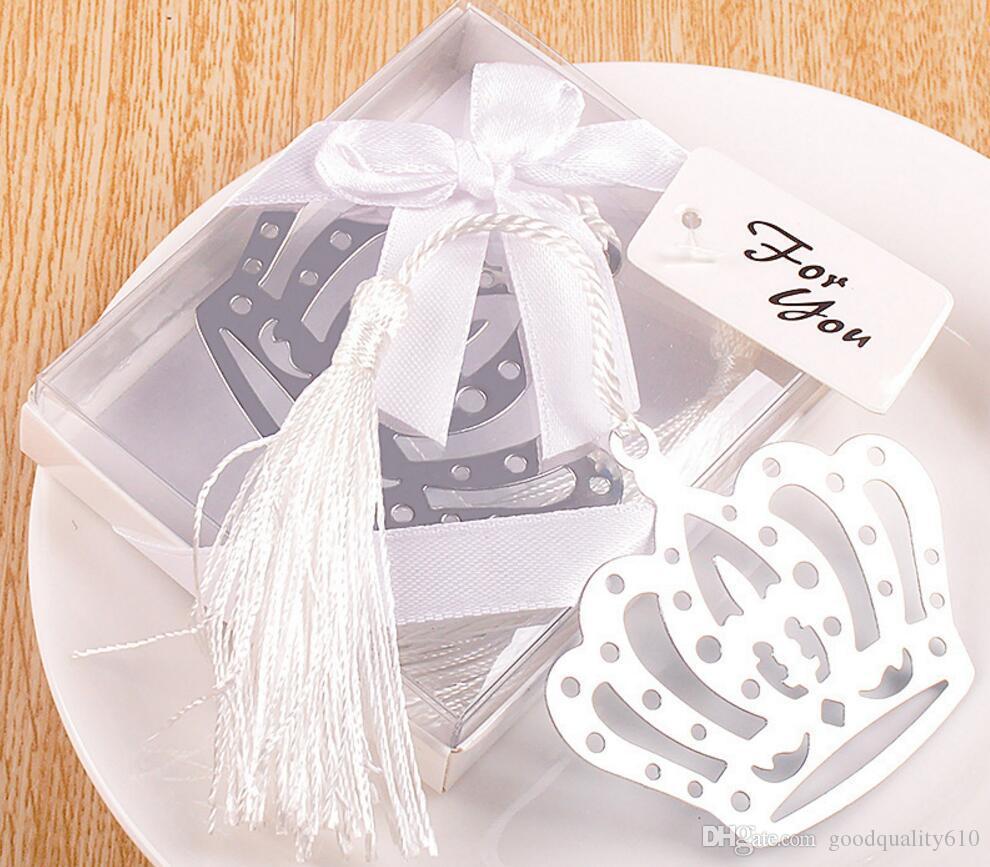 20 stücke Silber Edelstahl Weiß Quaste Crown Lesezeichen Für Hochzeit Baby Shower Party Geburtstag Favor Geschenk Souvenirs