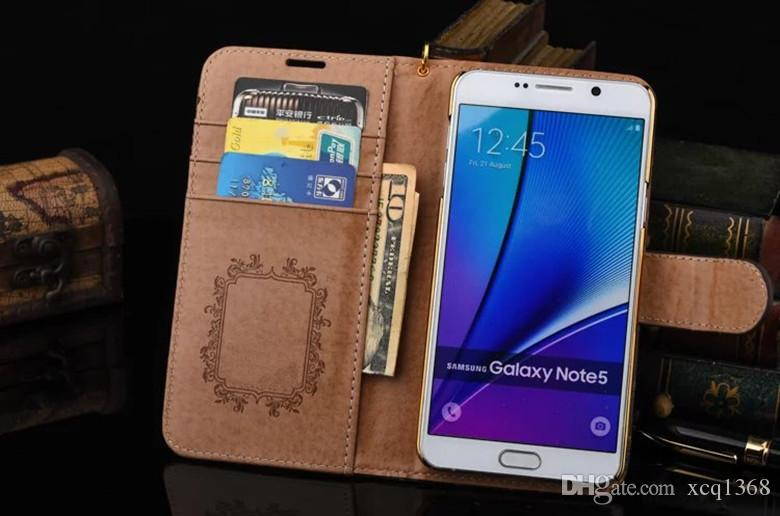 Brand Luxury Leather Wallet case for iPhone 8 7 6 6S Plus 5S SE 5C Cover for Samsung Galaxy S8 Plus S7 S6 Edge Note8 5 4 3 Stand Card Holder