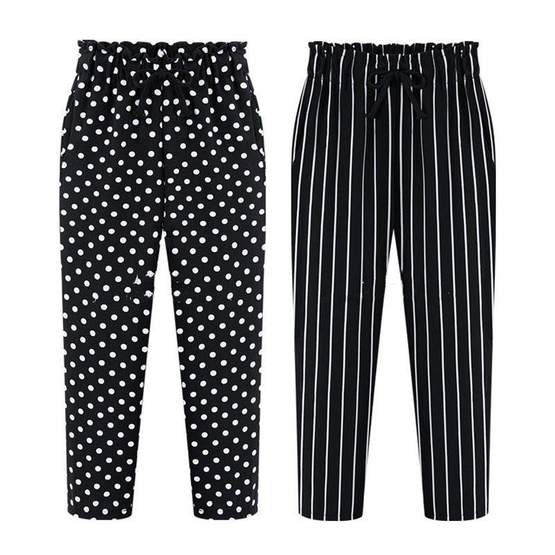 7d5dd304c6c 2019 2016 Summer Women Trouser Print Plus Size 5XL 6XL Loose Casual Harem Pants  Chiffon Black Dot Stripe Wide Leg Palazzo From Marrisha