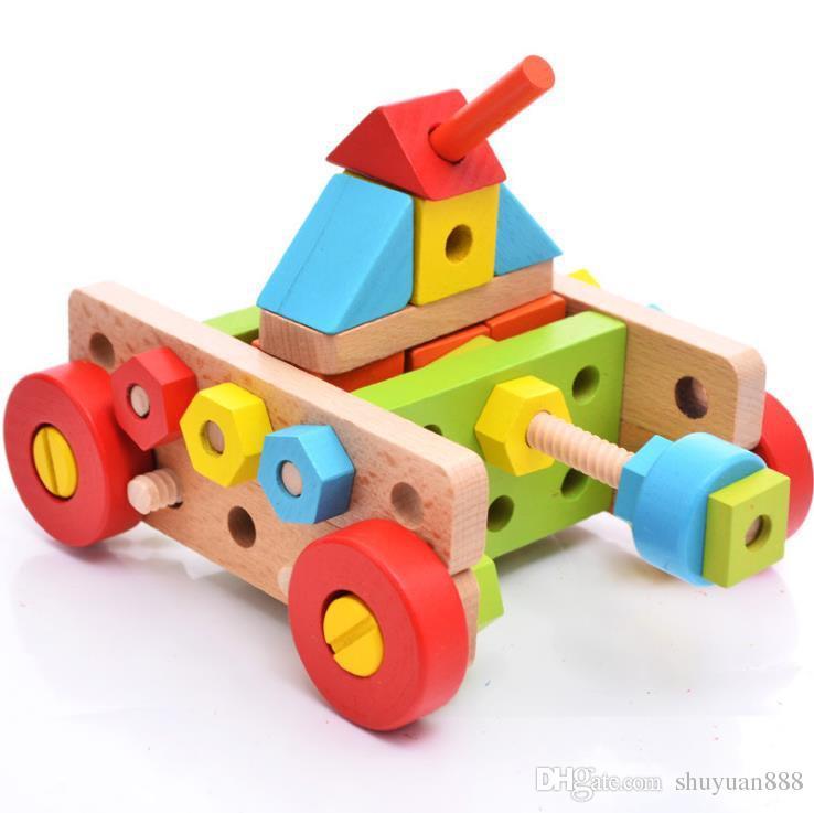 138 peças de combinação super porca batendo desmontagem parafuso modelo de carro combinação de brinquedos de madeira puzzle brinquedos frete grátis